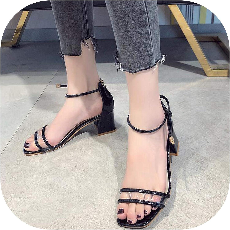 Meiguiyuan Elegant Square Heel Women's Sandals Summer Style Peep Toe Cross Tied Side Zip Design shoes