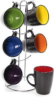 Gypsy Color 8 OZ. Americano Hanging Coffee Mug Set with Metal Tree, Black Multicolor Hand..