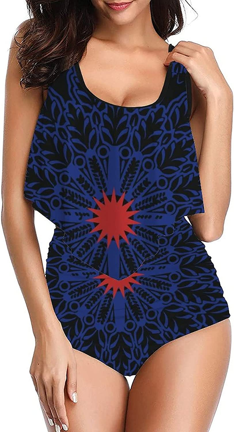 Women's Decorative Pattern-4 Swimsuit Design Tankini top with High Waisted Bottom Bikini Set Two Pieces Bathing Suits