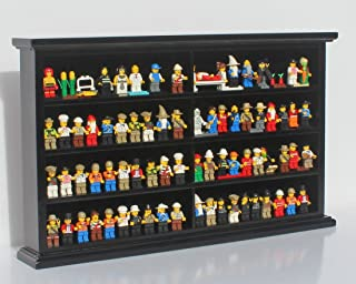 Kid-Safe Toy Minifigures Miniatures Figurines Display Case Wall Cabinet Stand, with Dust Protection (Black)