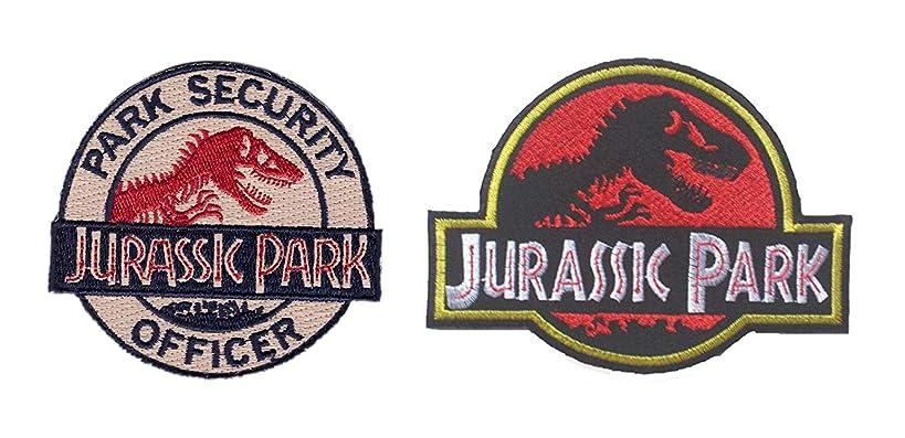 Antrix 2 Pieces Jurassic Park Park Security Officer Patch Jurassic Park Dinosaur Emblem Patch Hook & Loop Tactical Morale Patches -Dia.3.15