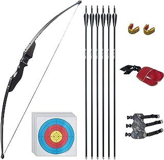D&Q Archery مجموعه های کمان و پیکان را برای جوانان بزرگسال مجدداً تمرین شکار در فضای باز شلیک تمرین هدف گیری اسباب بازی تمرین 35 اسباب بازی 35 پوند Takedown Longbow with Arrows Target Face Face Right Hand
