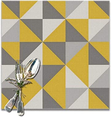 Genertic 6 Pcs of Yellow and Gray with Triangle Washable Placemat, Non-Slip Set, Kitchen Table, High Temperature Resistant Oil Wash