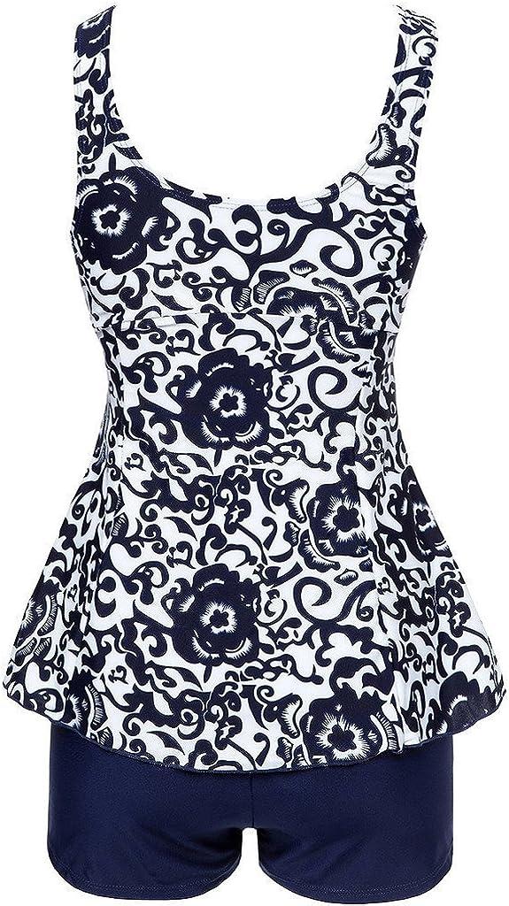 Ecupper Womens Tankini Sets Plus Size Swimsuit Two Piece Swimwear with Boy Shorts