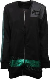 MARVELOUS EXPERIENCE C9530 Maxi Felpa Donna Zip Nero/Verde Sweatshirt Women