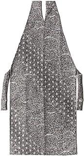 [でぃあじゃぱん] 着物エプロン 紋寄せ 黒 白 グレー モノトーン 芝 麻の葉 和装 前掛け ポーチ 伝統文様