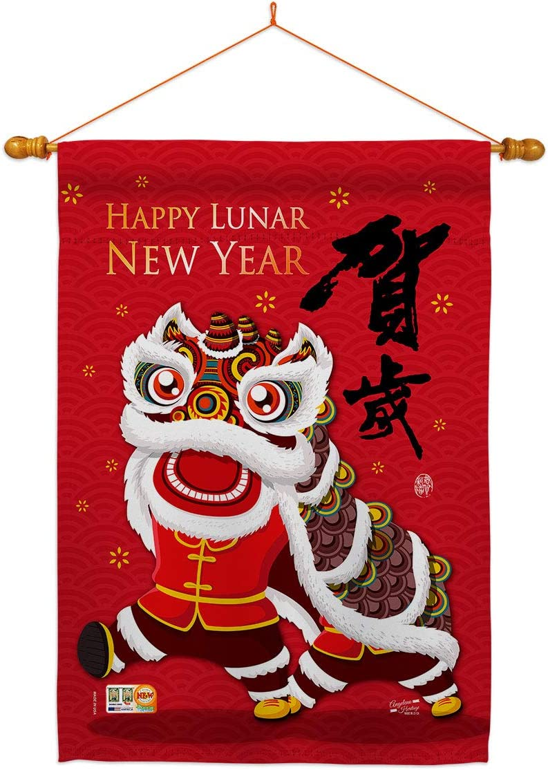 Angeleno 正規逆輸入品 Heritage Lunar New Year Bring Good Dowe Flag House 信頼 Luck