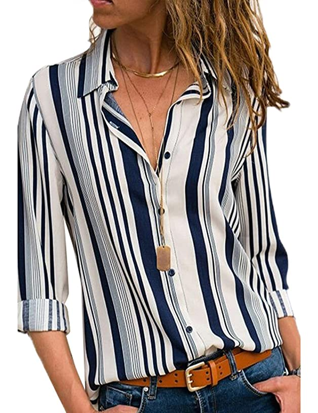 CAIYING Womens Long Sleeve Shirt V Neck Stripes Roll up Sleeve Button Down Casual Blouses Tops