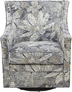 Madison Park Alana Swivel Chair - Solid Wood, Plywood, Metal Base Accent Armchair , Modern Contemporary Style, Floral Print Cover, Button Tufted, Family Room Sofa Furniture , 28.5