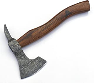 JNR Traders Handmade Damascus Steel Axe Hatchet Tomahawk Knife 10.50 Inches Axe Rose Wood Handle vk2221