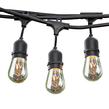 Sokani 24 Ft Long Patio Outdoor String Lights Weatherproof Commercial Grade Great for Party Christmas Halloween Backyard Café Deck Lights with 12 Sockets and Bulbs + 2 Replacement Bulbs