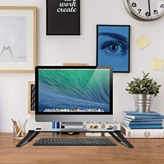 Macally Tempered Glass Computer Monitor Stand Riser, Desktop Screen Holder for TV Display & Laptop with Desk Shelf Storage Space for Keyboard - Sturdy Metal Frame Lifter & No Slip Pads - Black