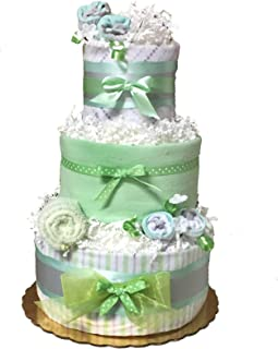 Mint Green Neutral Gender Baby Diaper Cake