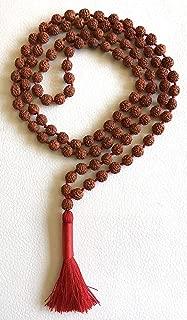 Rudraksha Rudraksh mala beads divine necklace 6 mm 108+1 meditation prayer beads 5 faceted 5 mukhi - spiritually energized hand knotted mala for nirvana w/free Velvet Rosary Pouch - US Seller