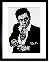 JOHNNY CASH TATTOO INKED ICON FRAMED ART PRINT BY W.MAGUIRE F97X12454