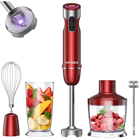VAV SEA 1000W 5-in-1 Immersion hand Blender, 12 Speed Stick Blender with Mixing Beaker (22oz), Food Processor, 304 Stainless Steel With Egg Whisk, Milk Frother for Puree Infant Food, BPA Free, Red