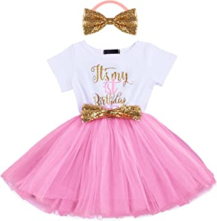 Newborn Baby Girl Princess It's My 1st/2nd Birthday Party Cake Smash Shinny Sequin Bow Tie Tulle Tutu Dress Outfit