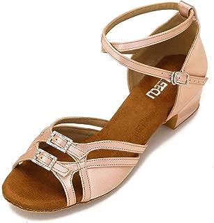 CLEECLI Low Heel Ballroom Dance Shoes Latin Salsa Shoes for Women Adjustable Toe Width 1.5 Inch Heel ZB21