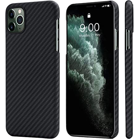 「PITAKA」 iPhone 11 Pro 対応 ケース アラミド繊維 超薄 超軽量 耐衝撃 ワイヤレス充電対応 MagEZ Case(iPhone 11 Pro専用(5.8インチ), 黒/グレ-ツイル柄)
