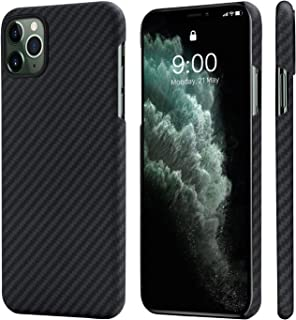 "PITAKA Magnetic Phone Case for iPhone 11 Pro Max 6.5"" Minimalist MagEZ Case 100% Aramid Fiber [Body Armor Material] Perfectly Fit Cover-Black/Grey(Twill)"