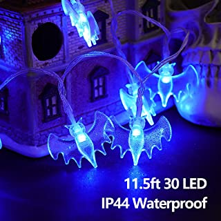 YUNLIGHTS Halloween Bat String Lights, Battery Operated 11.5ft 30 LED Waterproof Decoration Lights 8 Lighting Modes for Indoor/Outdoor Halloween Party Holiday Yard Decorations Decor