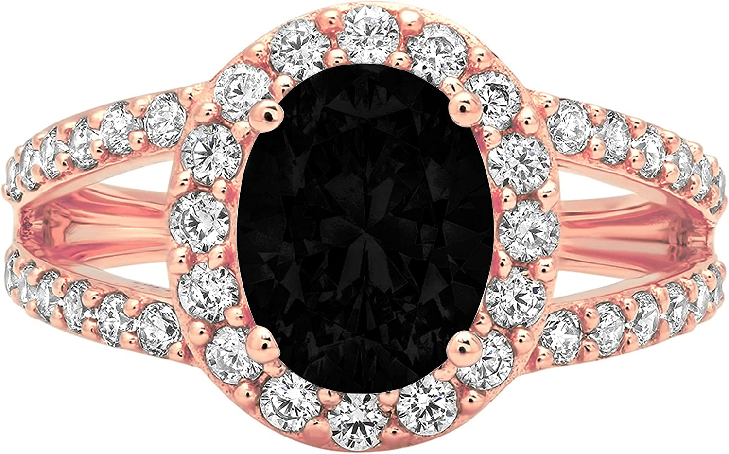 2.24 ct Oval Cut Solitaire with Accent Halo split shank Flawless Natural Black Onyx Gemstone Ideal VVS1 Engagement Promise Statement Anniversary Bridal Wedding Designer Ring 14k Rose Pink Gold