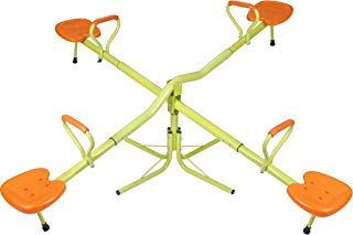 SUPER DEAL Extendable Quad 4 Seat Seesaw Rotator Teeter-Totter 360° Rotate - All Steel Tubes - Weather&Rust Resistant - for Indoor&Outdoor Use (Orange&Green)