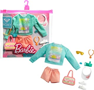 Barbie Storytelling Fashion Pack of Doll Clothes Inspired by Roxy: Sweatshirt with Roxy Graphic, Orange Shorts & 7 Beach-T...