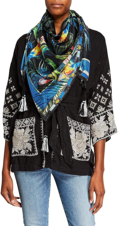 Johnny Was Jungle Scarf Black Multi color Silk New