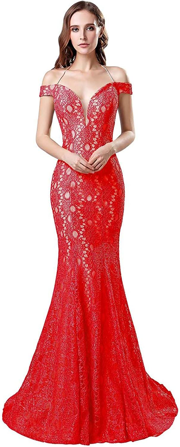 Anmor Women's Backless Mermiad Prom Dresses Long Lace Tulle Formal Evening Ball Gowns