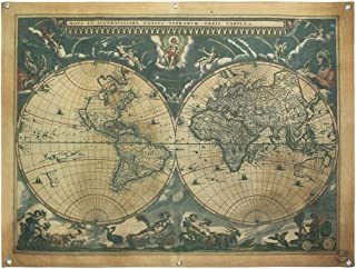 French Retro Vintage Large Old World Map Waterproof Linen Poster Print Art Wall Hanging Decor 48X36 Inches--Wenky
