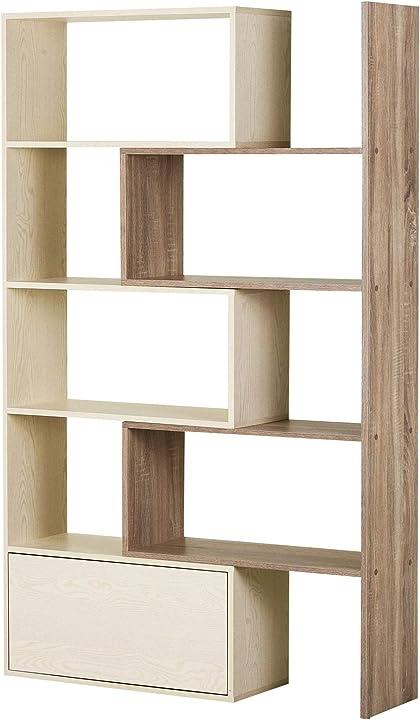 Libreria scaffale a ripiani salvaspazio 2 pezzi per soggiorno in legno 141 x 29 x 176 cm bianco, rovere homcom IT836-112AK0631