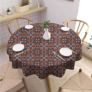 VICWOWONE Kitchen Round Tablecloth Vintage Machine Washable Retro Coloful Image with Floral Like Geometrical Details Kaleidoscope Seem Artwork,Round - 39 inch Multicolor