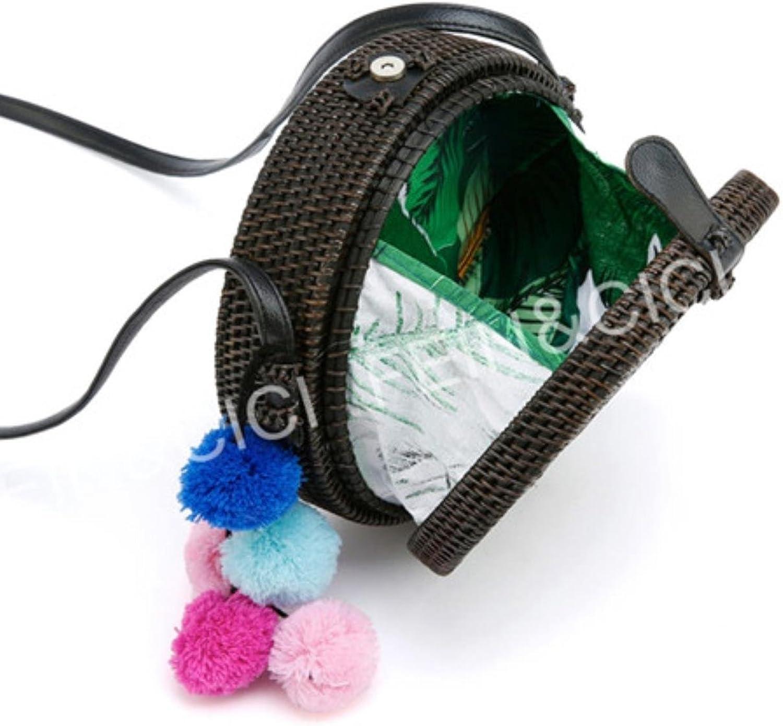Straw Bags Circle Round Rattan Bag Black Tassel Beach Bag Women Bohemian Bali Handbag Summer New Handmade Crossbody Bag