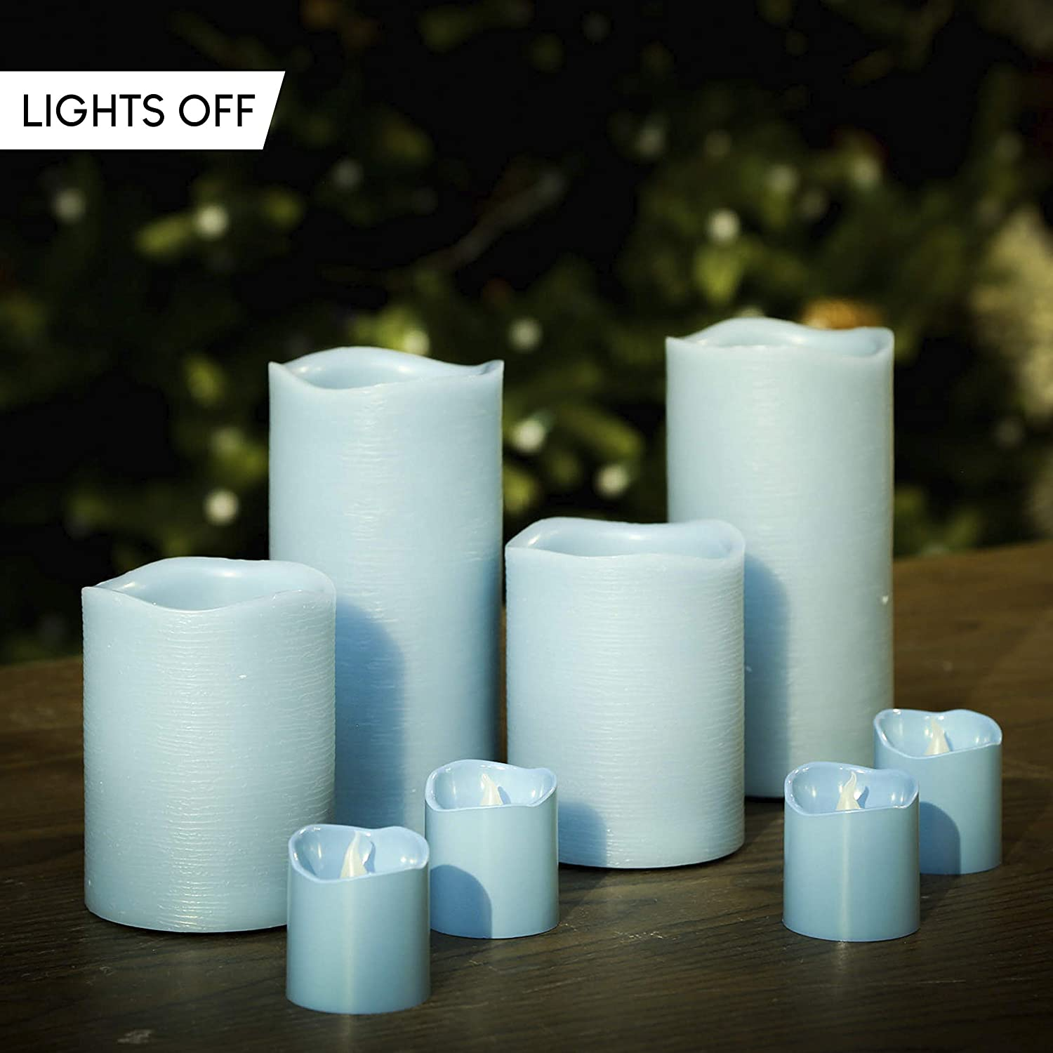 Gold Trim Furora LIGHTING LED Flameless Candles with Remote Control Real Wax Battery Operated Pillars and Votives LED Candles with Flickering Flame and Timer Featured Set of 8