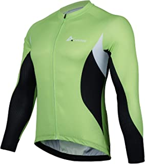 ANIVIVO Men Cycling Jersey Long Sleeves, Men's Bike Jersey Full Zipper& Cycling Shirts with Pockets
