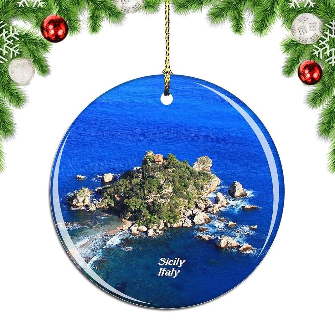 軽蔑する憧れ注入するWeekinoイタリアシチリア島クリスマスデコレーションオーナメントクリスマスツリーペンダントデコレーションシティトラベルお土産コレクション磁器2.85インチ