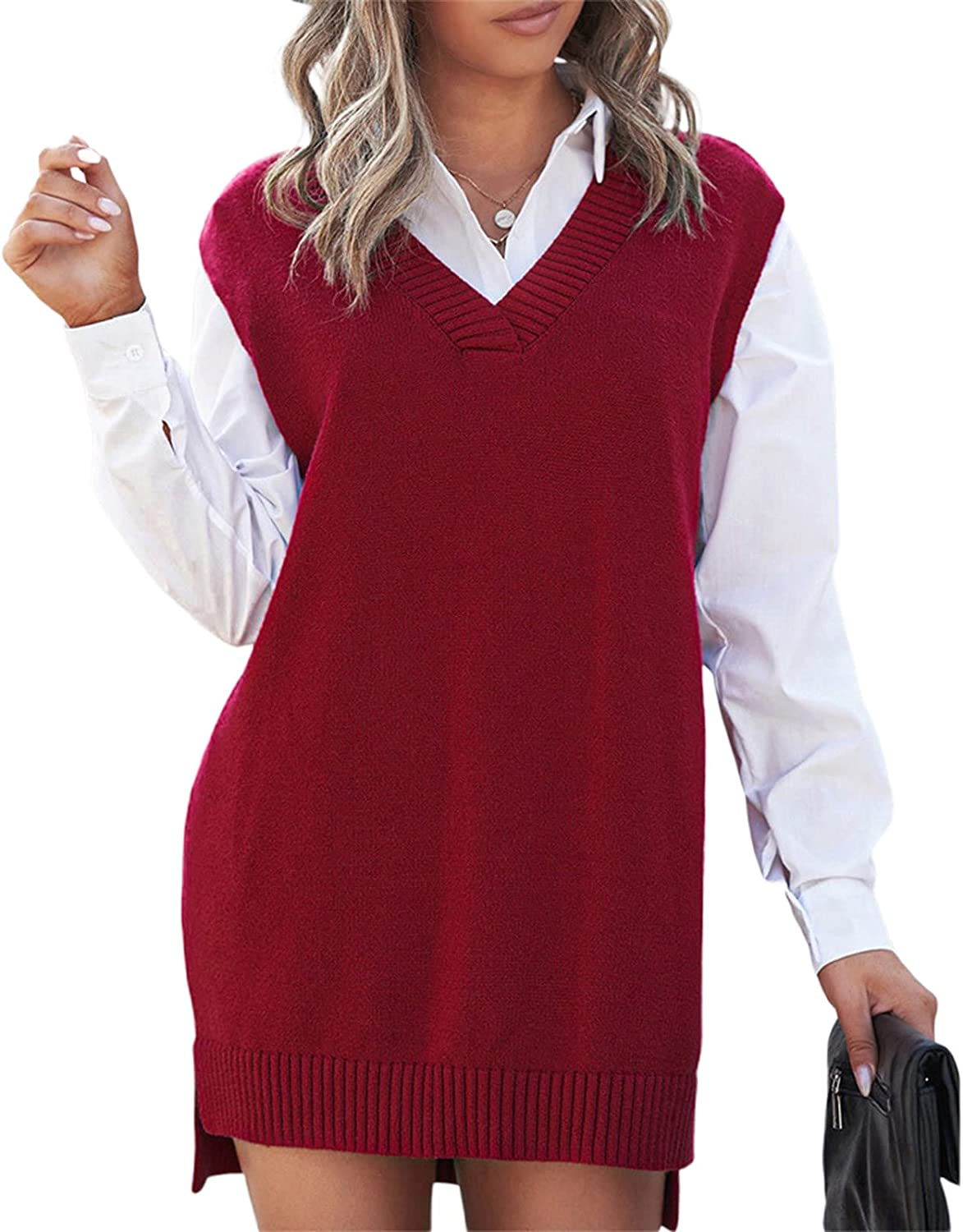 Women's Autumn Loose Fit V-Neck Knitted Sweater Vest Female Casual Solid Color Sleeveless Pullover Knitwear Tank
