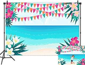Fanghui 7x5FT Watercolor Beach Blue Sea Sky Photography Backdrop Bunting Flower Mexico Fiesta Background Baby Shower Birthday Banner Decor Supplies Photo Booth Studio Props