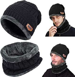 BETOY Cappello Uomo Invernale in Maglia con Sciarpa, 2 Pezzi Cappello Berretto Caldo da Uomo per Inverno Cappello da Sci a...