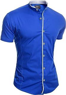 D&R Fashion Mens Elegant Short Sleeve Shirt Smart Grandad Collar Cotton White Blue Stitching