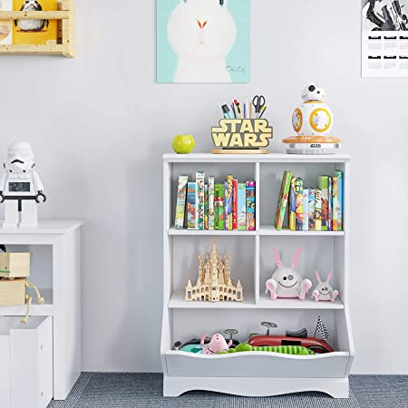 HOMECHO Kid's Bookcase, 5 Bins Toy Storage Cubby, Children's Storage Cabinet, Book Storage Shelves for Playroom, Bedroom, Reading Nook, Toddler's Room, Nursery, White