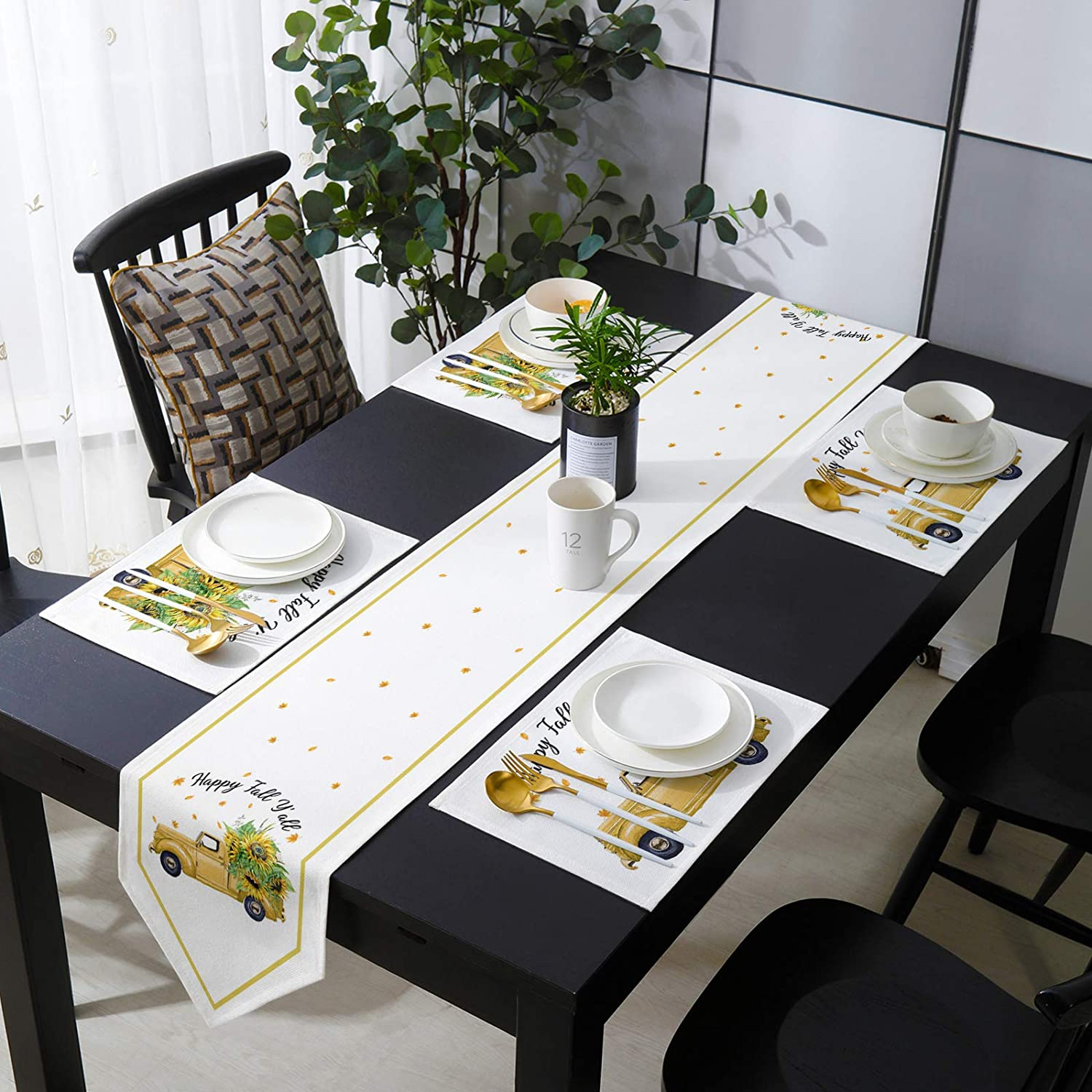 COLORSUM Burlap Table Runner Sets Y'all Placemat trend rank with Ranking TOP6 Fall Happy