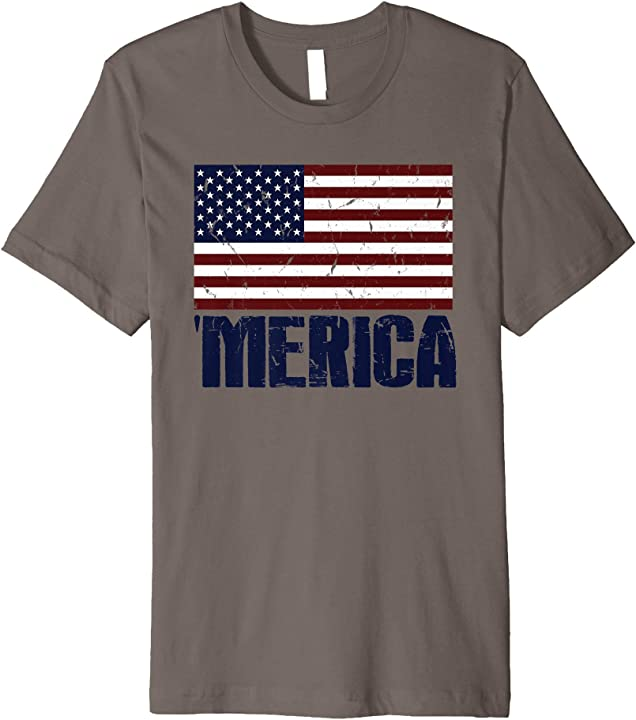 'MERICA Vintage American Flag Memorial Day July 4th Holiday Premium T-Shirt