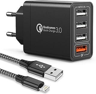 JOOMFEEN Quick Charge 3.0 Cargador USB de Pared,30W QC 3.0 Cargador Móvil 4 Puertos Cargador de Red USB Carga Rapida con Cable USB para iPhone XS,XR,X,8,8 Plus,7,7 Plus,6s,6s Plus,5s,iPad,iPod(Negro)