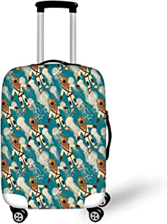 Travel Luggage Cover Suitcase Protector,Realistic Flower in Warm Color Palette N