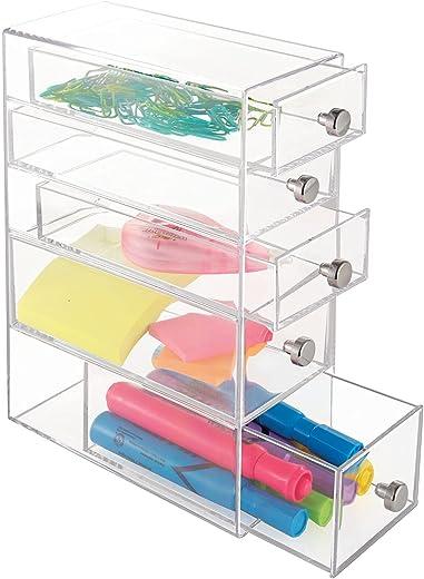 mDesign Aufbewahrungsbox für das Büro – Box mit 5 Schubladen aus Kunststoff für Schreibwaren – Büro Organizer für Schrank und Schreibtisch –…