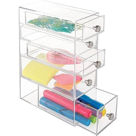 mDesign boite de rangement a tiroir – organisateur de bureau en plastique avec 5 tiroirs – trieur de bureau pour stylos, crayons et autres fournitures de bureau – transparent