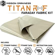 TitanRF Faraday Fabric // EMI & RFID Shielding/Cell, WiFi & Bluetooth Blocking/Military Grade Shielding Fabric (44in W x 36in L / 11sq ft / 1.22 sq yds) + Free 12in L Conductive Adhesive Tape