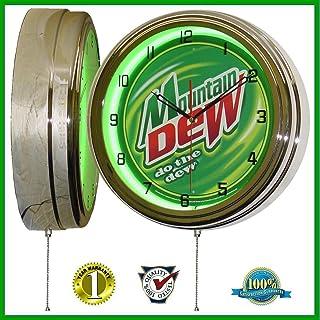 "Mountain Dew 15"" Neon Light Wall Clock Sign Soda Pop Shop Bottle Logo Vintage Retro Style Green"